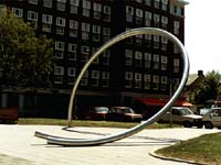 stainless steel sculpture in Amsterdam, Holland - the sculptures by Lucien den Arend - his site specific sculpture ordered by the city of Amsterdam